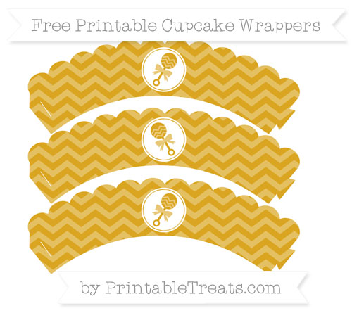Free Goldenrod Chevron Baby Rattle Scalloped Cupcake Wrappers