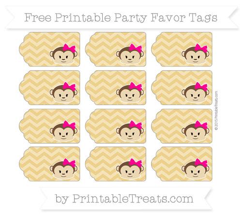 Free Goldenrod Chevron Girl Monkey Party Favor Tags