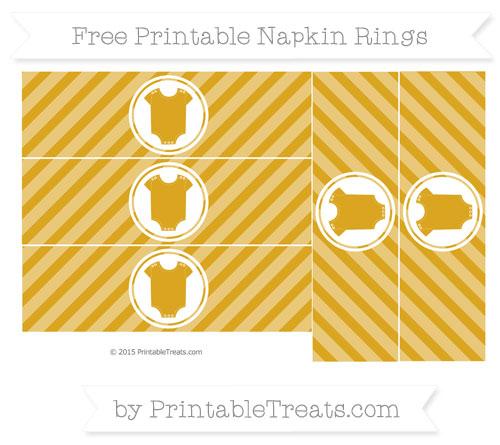Free Goldenrod Diagonal Striped Baby Onesie Napkin Rings