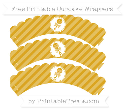 Free Goldenrod Diagonal Striped Baby Rattle Scalloped Cupcake Wrappers