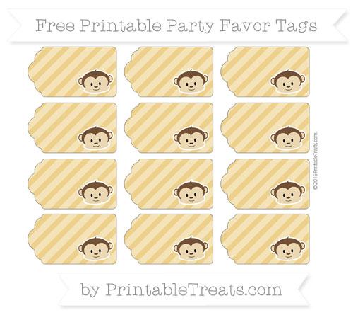 Free Goldenrod Diagonal Striped Boy Monkey Party Favor Tags