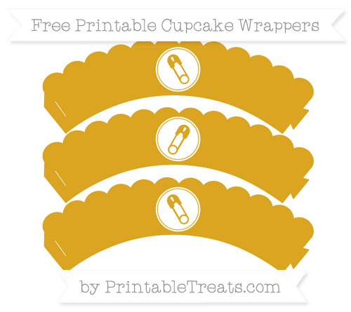 Free Goldenrod Diaper Pin Scalloped Cupcake Wrappers