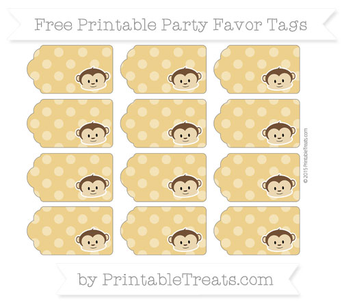 Free Goldenrod Dotted Pattern Boy Monkey Party Favor Tags
