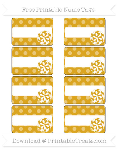 Free Goldenrod Dotted Pattern Cheer Pom Pom Tags