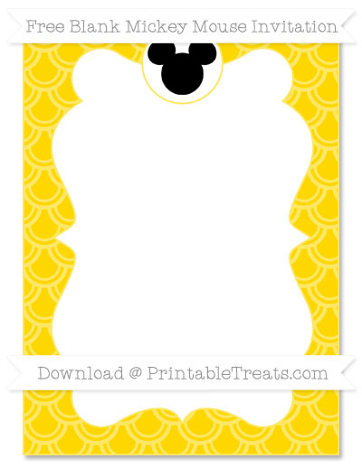 Free Goldenrod Fish Scale Pattern Blank Mickey Mouse Invitation