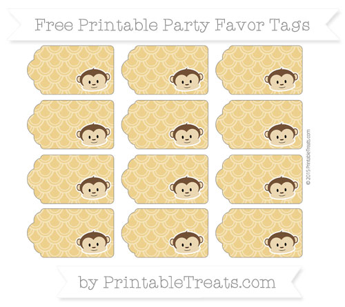 Free Goldenrod Fish Scale Pattern Boy Monkey Party Favor Tags