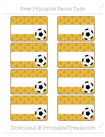 Free Goldenrod Fish Scale Pattern Soccer Name Tags