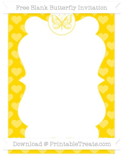 Free Goldenrod Heart Pattern Blank Butterfly Invitation