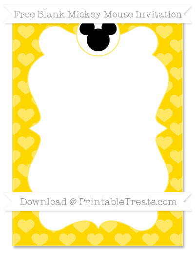 Free Goldenrod Heart Pattern Blank Mickey Mouse Invitation