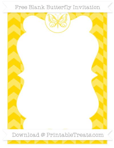 Free Goldenrod Herringbone Pattern Blank Butterfly Invitation