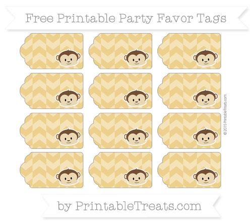 Free Goldenrod Herringbone Pattern Boy Monkey Party Favor Tags