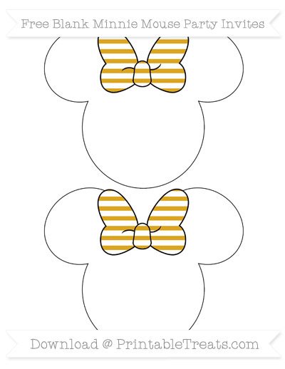 Free Goldenrod Horizontal Striped Blank Minnie Mouse Party Invites