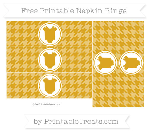 Free Goldenrod Houndstooth Pattern Baby Onesie Napkin Rings