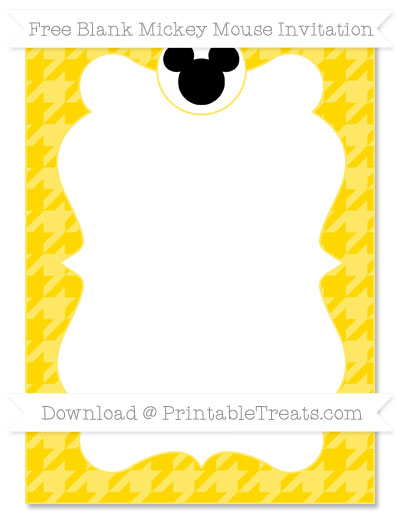 Free Goldenrod Houndstooth Pattern Blank Mickey Mouse Invitation