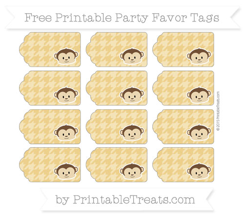 Free Goldenrod Houndstooth Pattern Boy Monkey Party Favor Tags