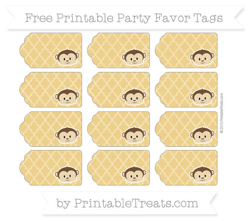 Free Goldenrod Moroccan Tile Boy Monkey Party Favor Tags