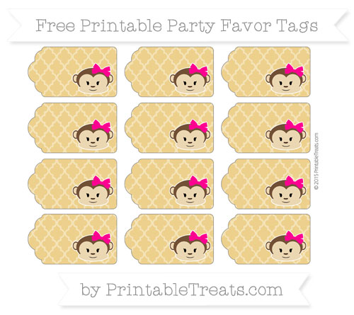 Free Goldenrod Moroccan Tile Girl Monkey Party Favor Tags