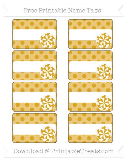 Free Goldenrod Polka Dot Cheer Pom Pom Tags