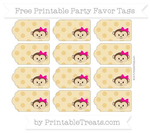 Free Goldenrod Polka Dot Girl Monkey Party Favor Tags