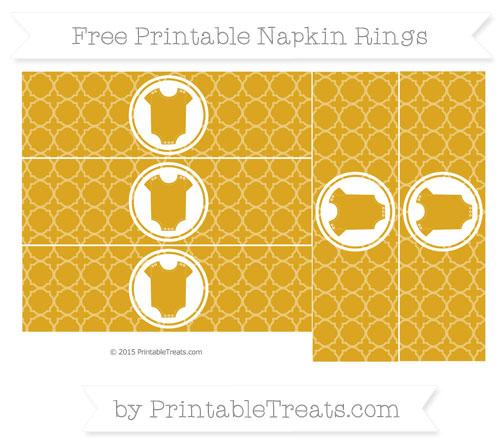 Free Goldenrod Quatrefoil Pattern Baby Onesie Napkin Rings