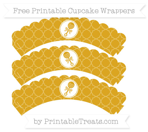 Free Goldenrod Quatrefoil Pattern Baby Rattle Scalloped Cupcake Wrappers