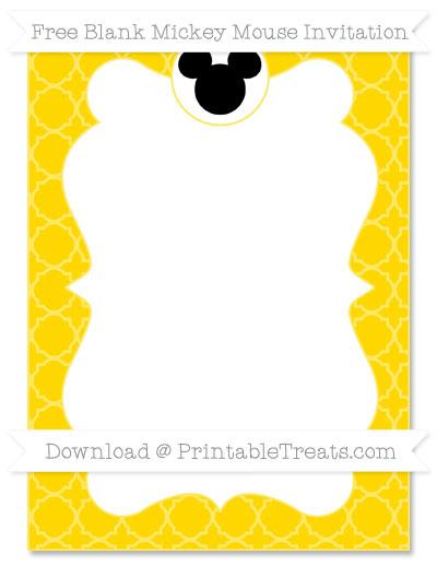 Free Goldenrod Quatrefoil Pattern Blank Mickey Mouse Invitation