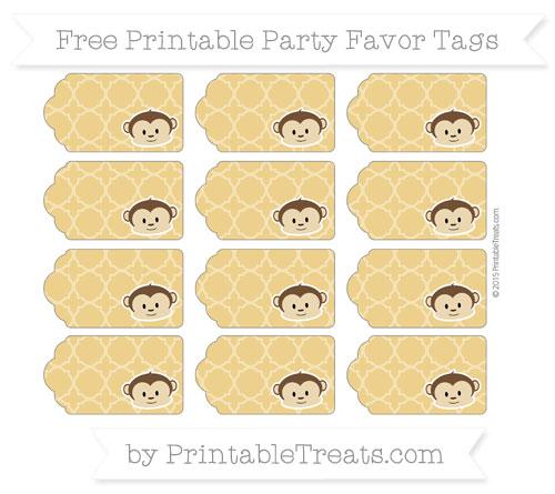 Free Goldenrod Quatrefoil Pattern Boy Monkey Party Favor Tags