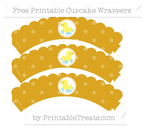 Free Goldenrod Star Pattern Baby Duck Scalloped Cupcake Wrappers