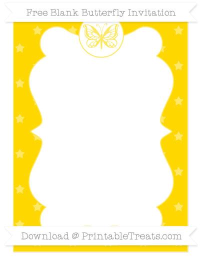 Free Goldenrod Star Pattern Blank Butterfly Invitation