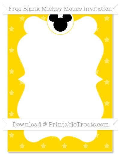 Free Goldenrod Star Pattern Blank Mickey Mouse Invitation