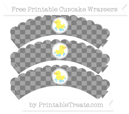 Free Grey Checker Pattern Baby Duck Scalloped Cupcake Wrappers