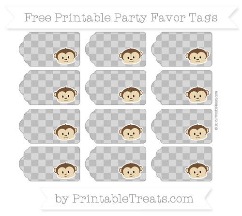 Free Grey Checker Pattern Boy Monkey Party Favor Tags