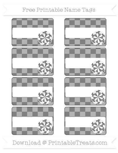 Free Grey Checker Pattern Cheer Pom Pom Tags