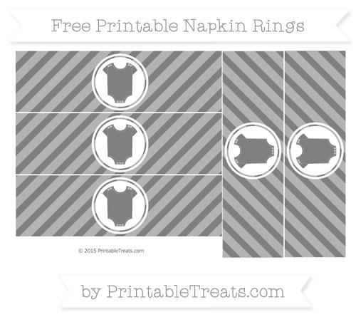 Free Grey Diagonal Striped Baby Onesie Napkin Rings