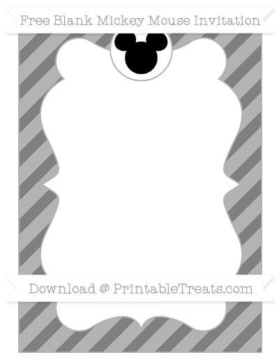 Free Grey Diagonal Striped Blank Mickey Mouse Invitation