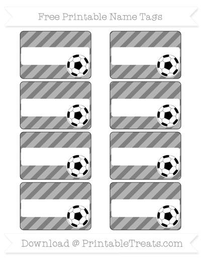Free Grey Diagonal Striped Soccer Name Tags