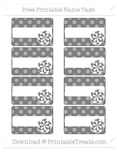 Free Grey Dotted Pattern Cheer Pom Pom Tags