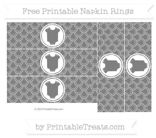 Free Grey Fish Scale Pattern Baby Onesie Napkin Rings