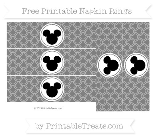 Free Grey Fish Scale Pattern Mickey Mouse Napkin Rings