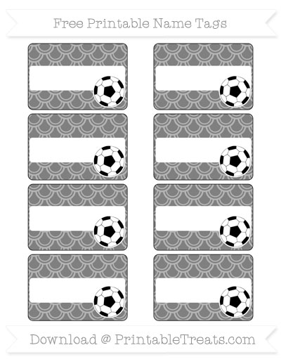Free Grey Fish Scale Pattern Soccer Name Tags