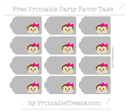 Free Grey Girl Monkey Party Favor Tags