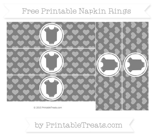Free Grey Heart Pattern Baby Onesie Napkin Rings