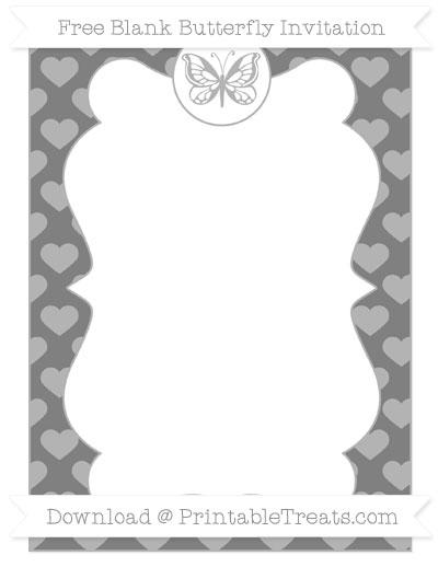 Free Grey Heart Pattern Blank Butterfly Invitation