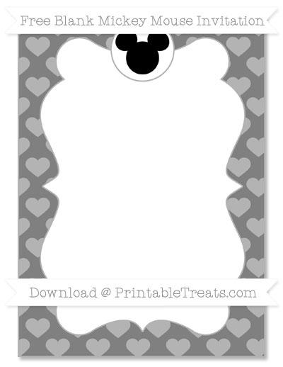 Free Grey Heart Pattern Blank Mickey Mouse Invitation