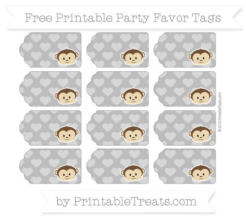 Free Grey Heart Pattern Boy Monkey Party Favor Tags