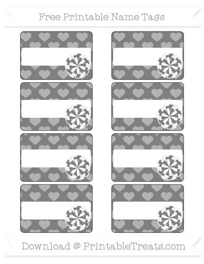 Free Grey Heart Pattern Cheer Pom Pom Tags