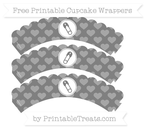 Free Grey Heart Pattern Diaper Pin Scalloped Cupcake Wrappers