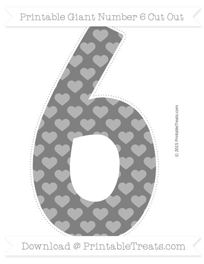 Free Grey Heart Pattern Giant Number 6 Cut Out
