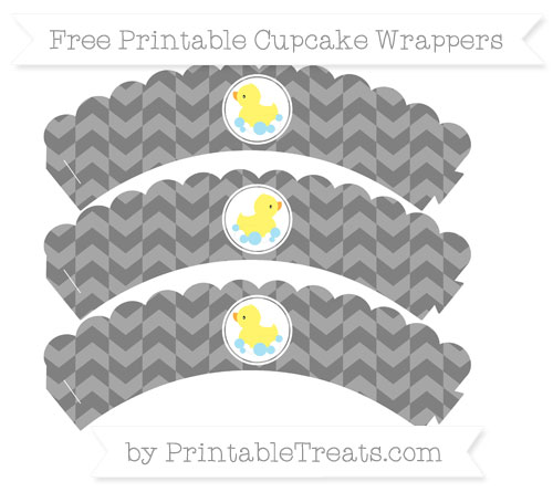 Free Grey Herringbone Pattern Baby Duck Scalloped Cupcake Wrappers