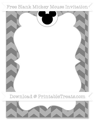 Free Grey Herringbone Pattern Blank Mickey Mouse Invitation